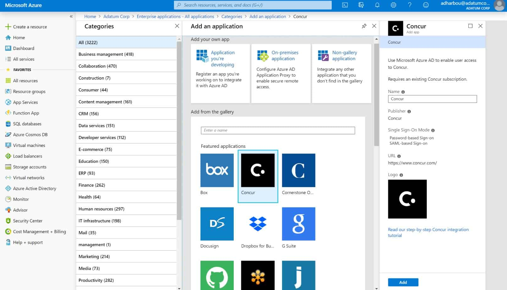Microsoft Azure AD dashboard