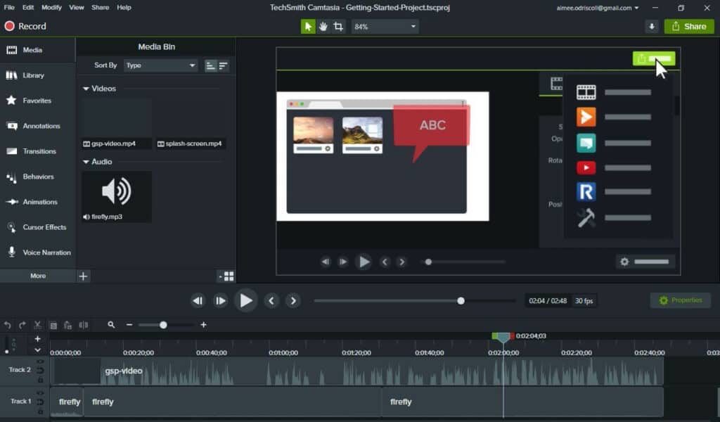 The Camtasia interface.