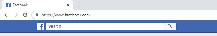 The HTTPS symbol on the Facebook website.