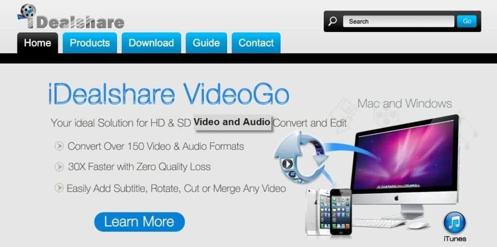 iDealshare VideoGo homepage.