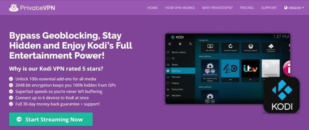 PrivateVPN Kodi page.