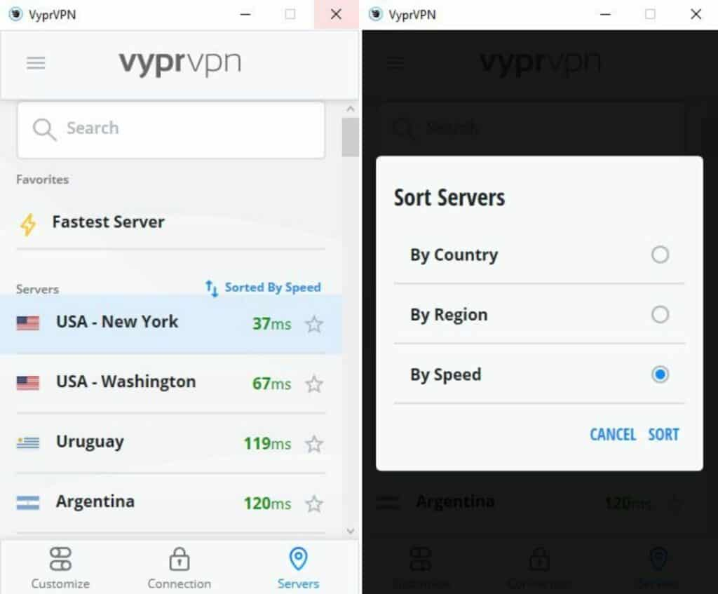 VyprVPN server list arranged by speed.