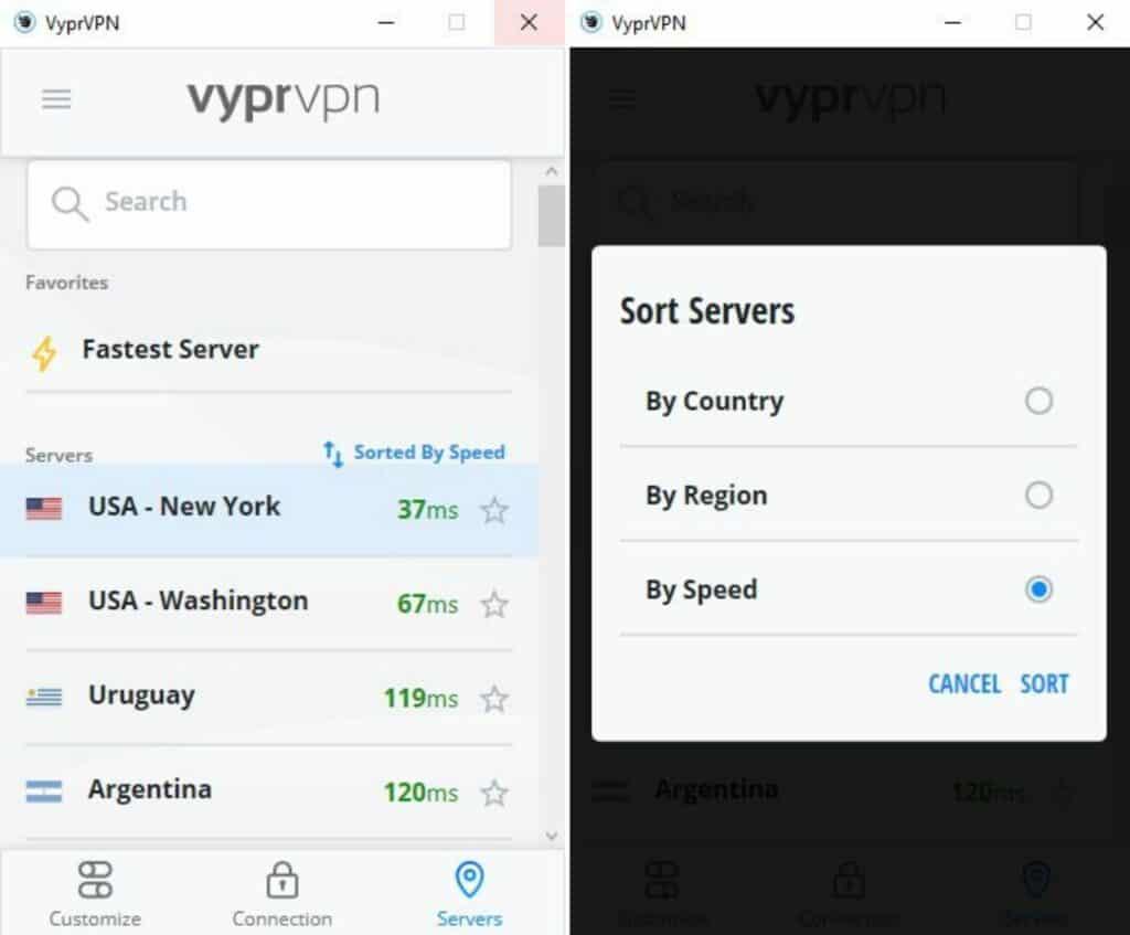 VyprVPN server list arranged by speed.