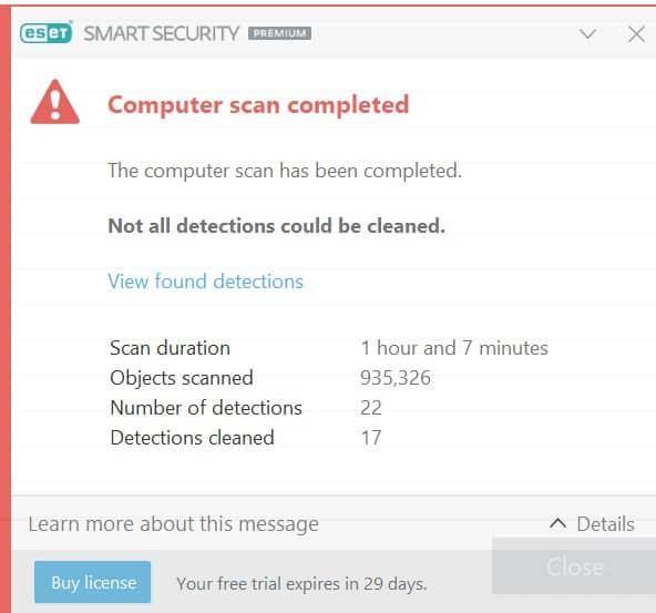 ESET Live malware sample results