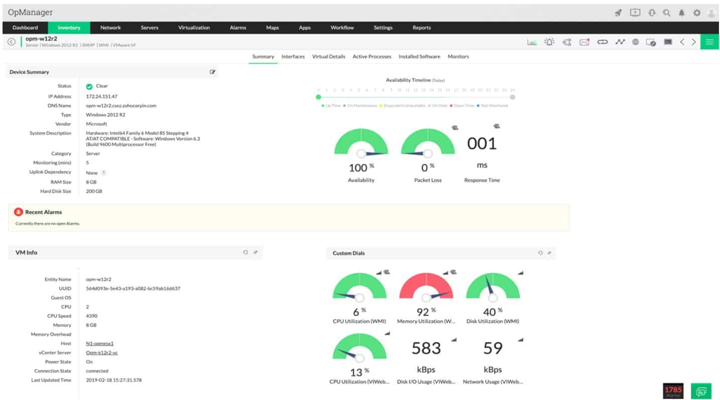 ManageEngine OpManager - Inventory view