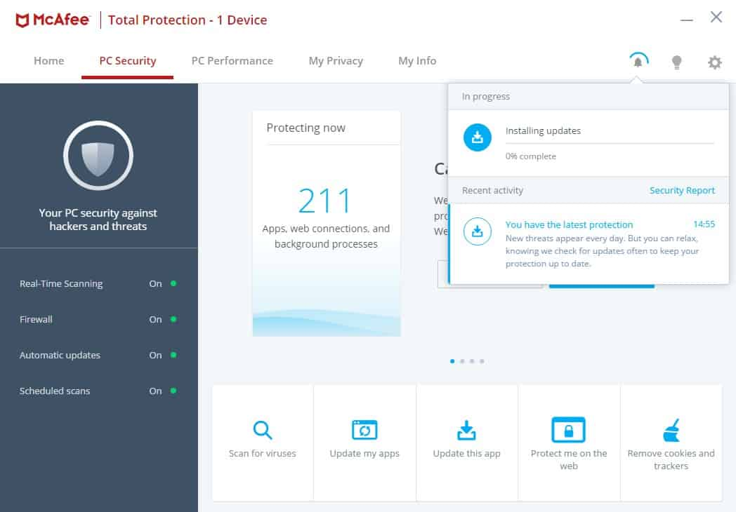 McAfee dashboard
