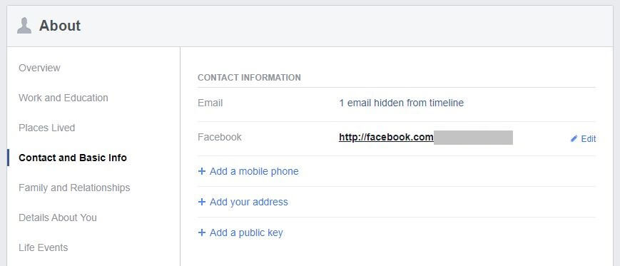 Facebook information screen.