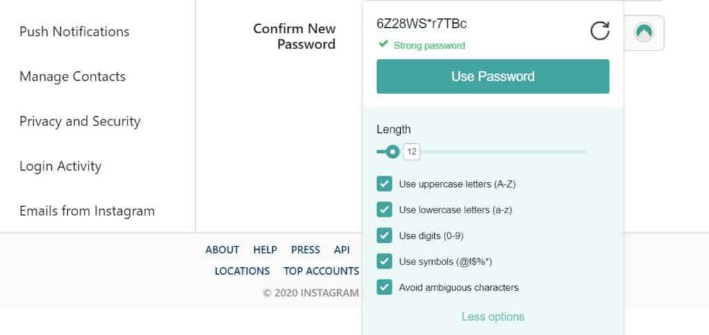 Generating a password.