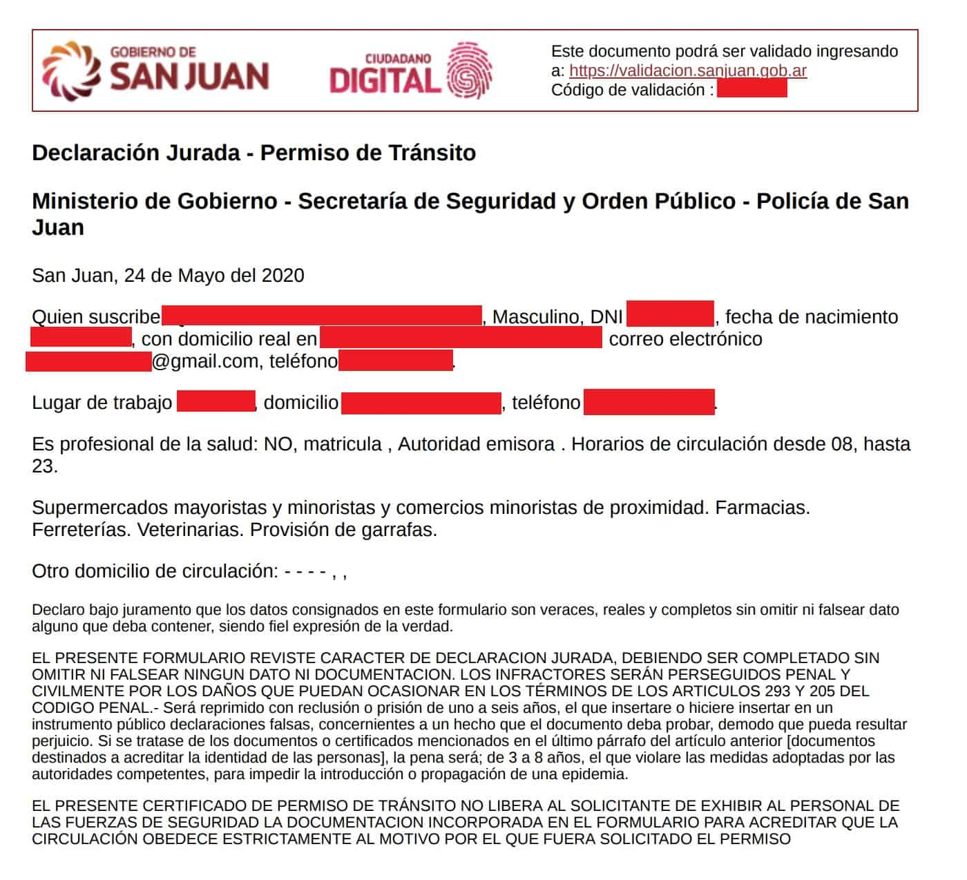 argentina covid-19 circulation permit