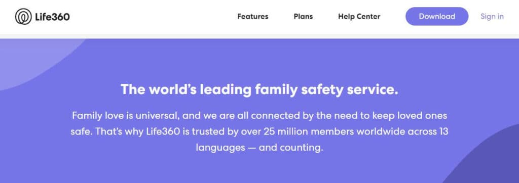 The Life360 homepage.
