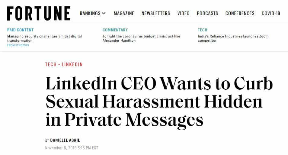 Headline about LinkedIn harassment.