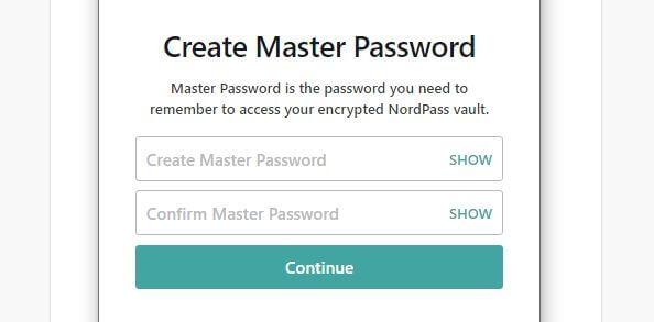 Master Password creation screen.