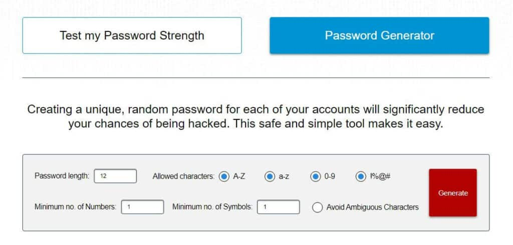 Comparitech password generator.