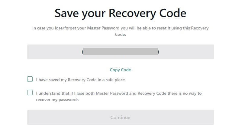 The Recovery Code screen.