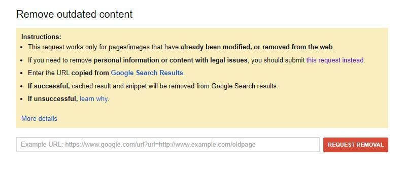Google removal request.