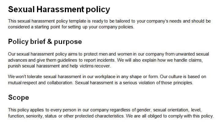 Workable's sample harassment policy.