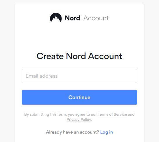 The Nord Account signup page.
