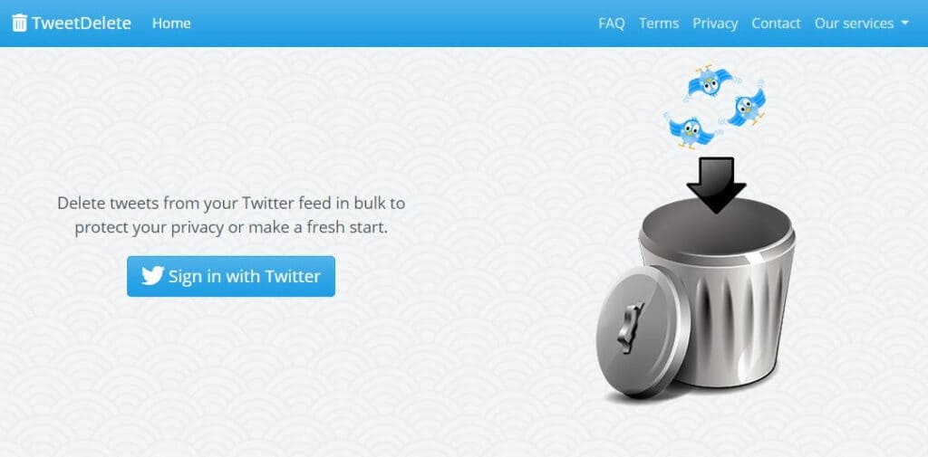 The TweetDelete homepage.