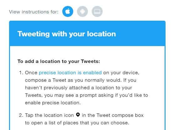 Instructions for tweeting with your location.