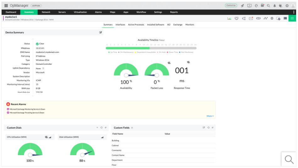 ManageEngine OpManager - Exchange Inventory view