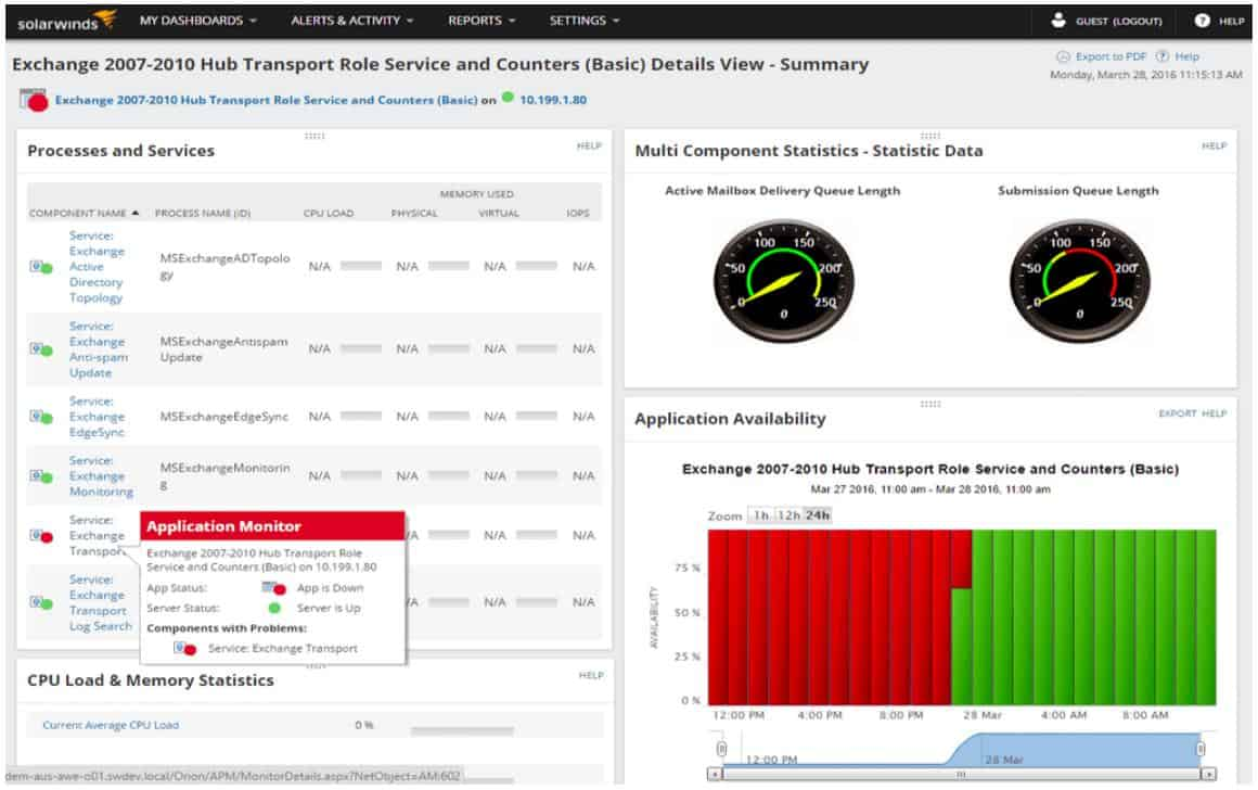 SolarWinds SAM - Exchange Server Processes and Services view