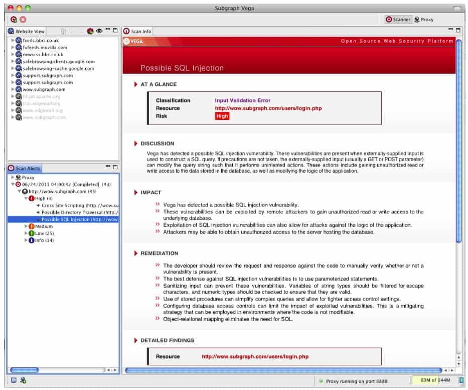Subgraph Vega - Scan Info view