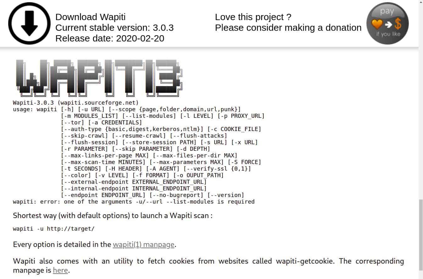 Wapiti3 - homepage screenshot