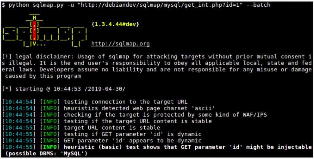 sqlmap - screenshot