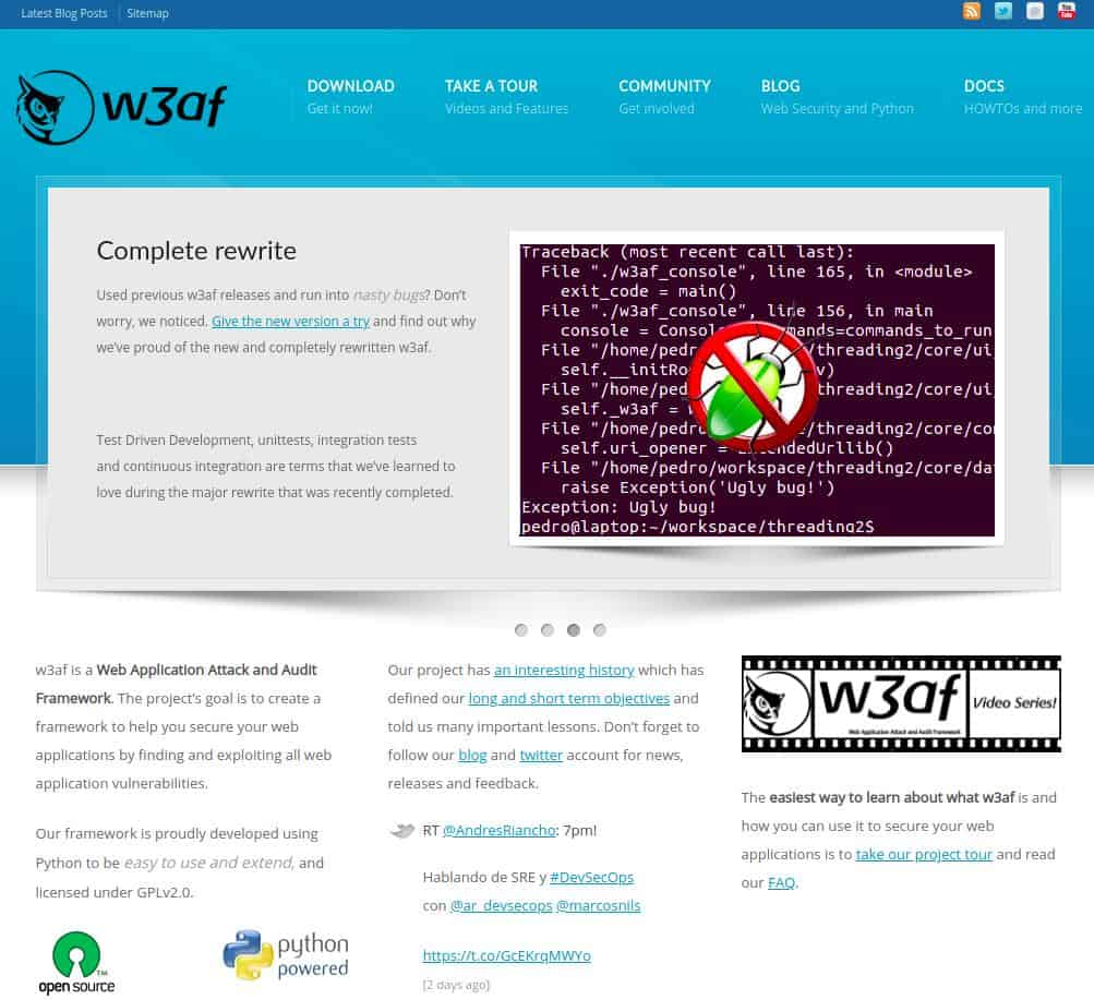 w3af - homepage screenshot