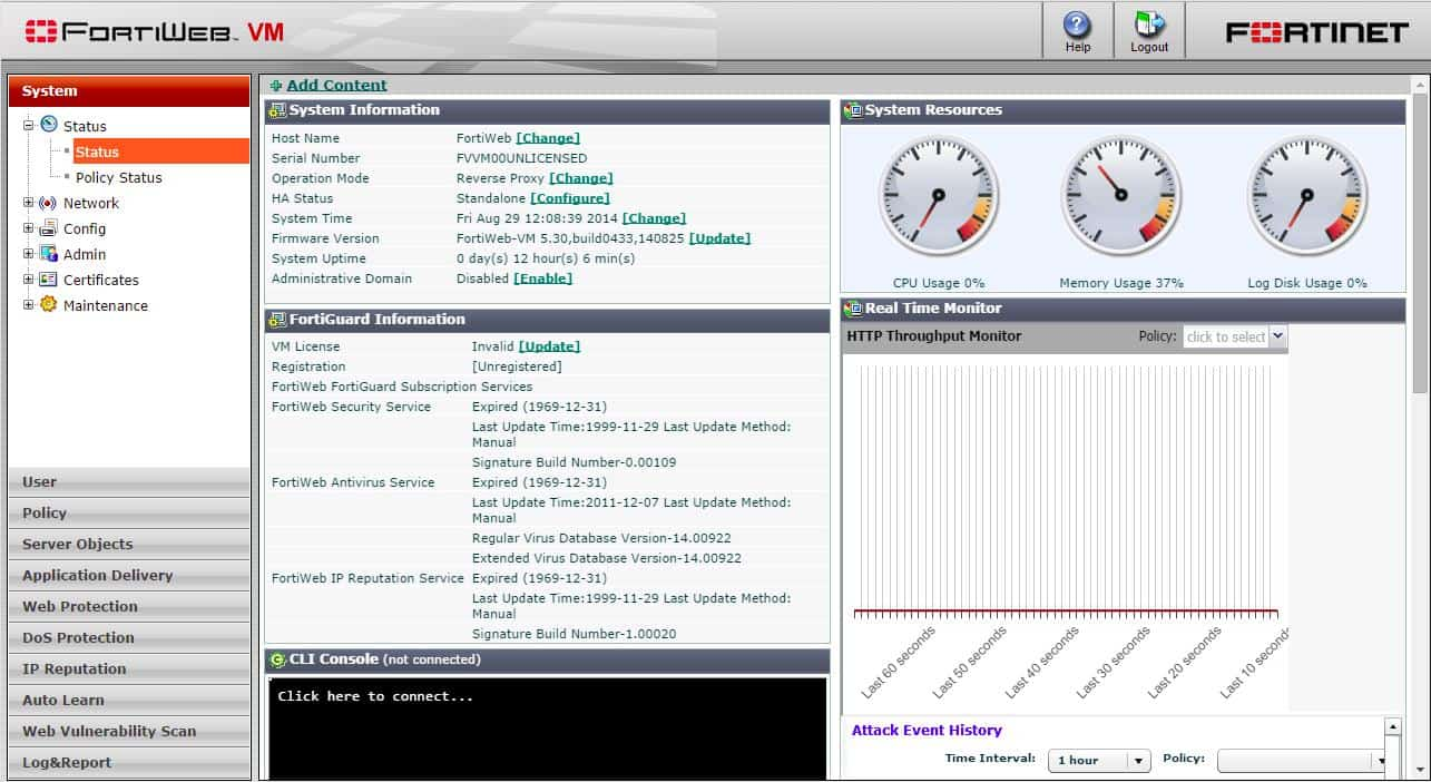 FortiWeb VM System Status