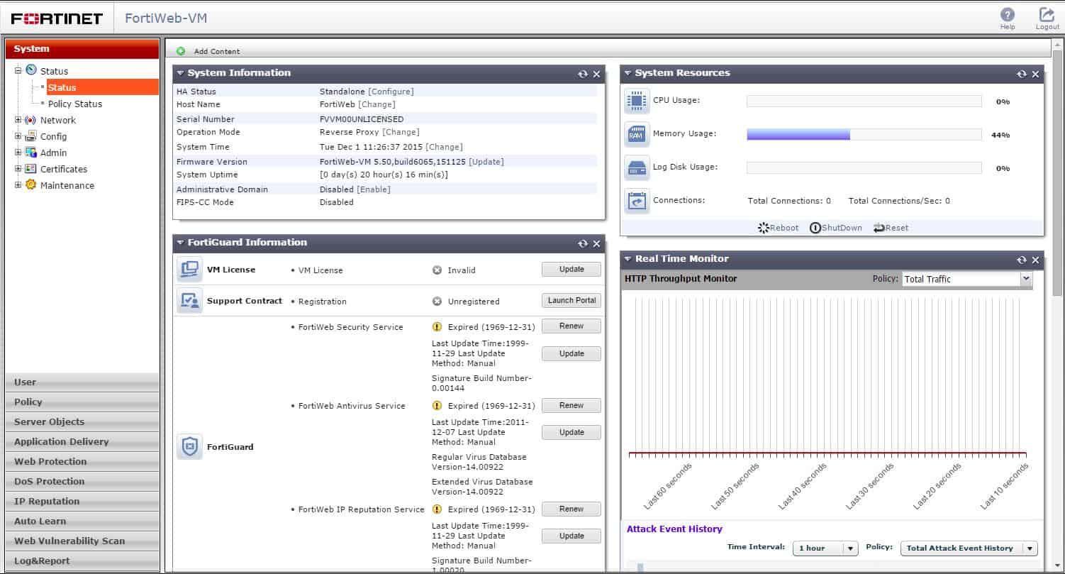 Fortinet FortiWeb-VM System dashboard