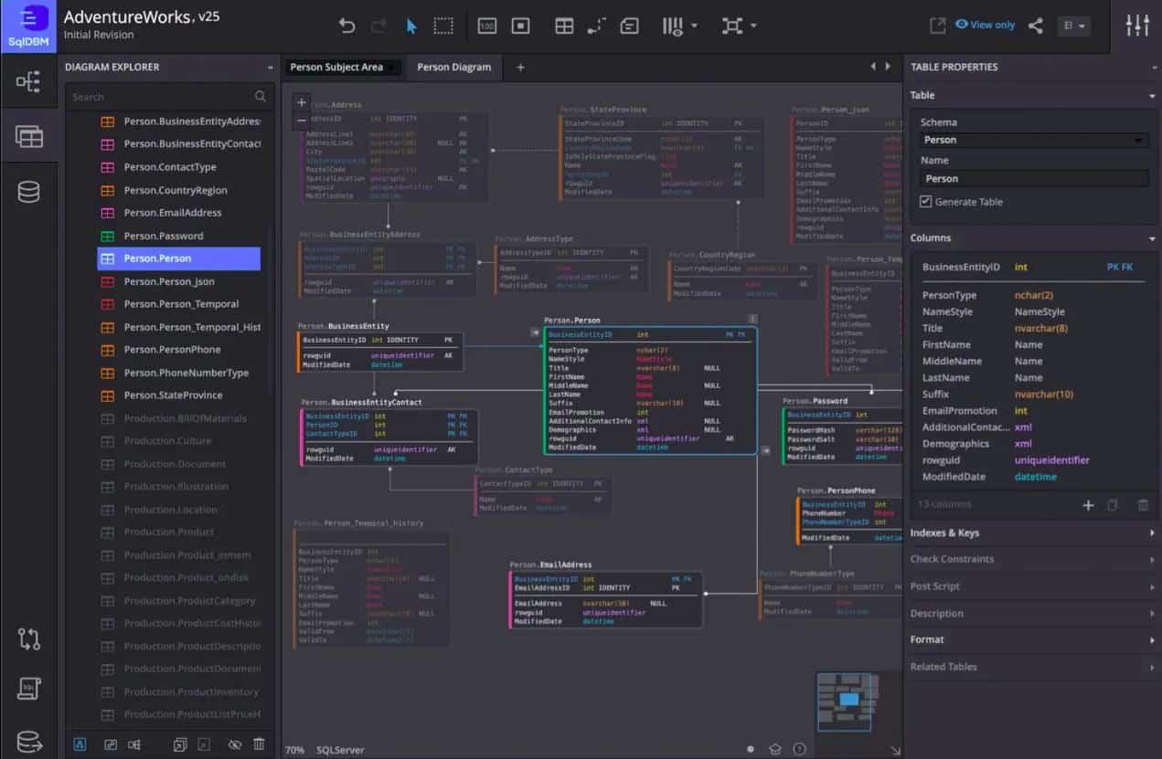 SqlDBM AdventureWorks v25 - Diagram Explorer