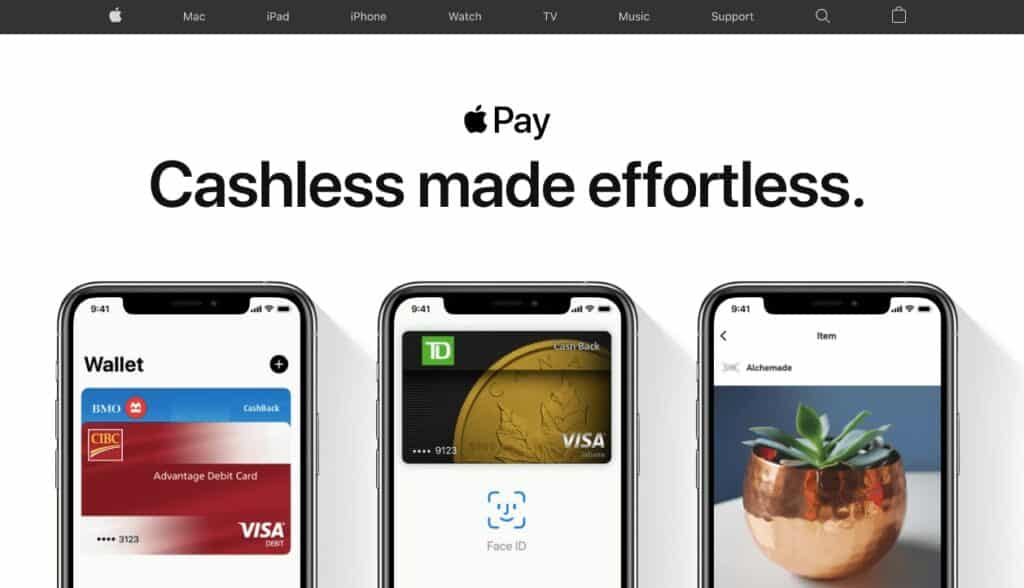 Thee Apple Pay homepage.
