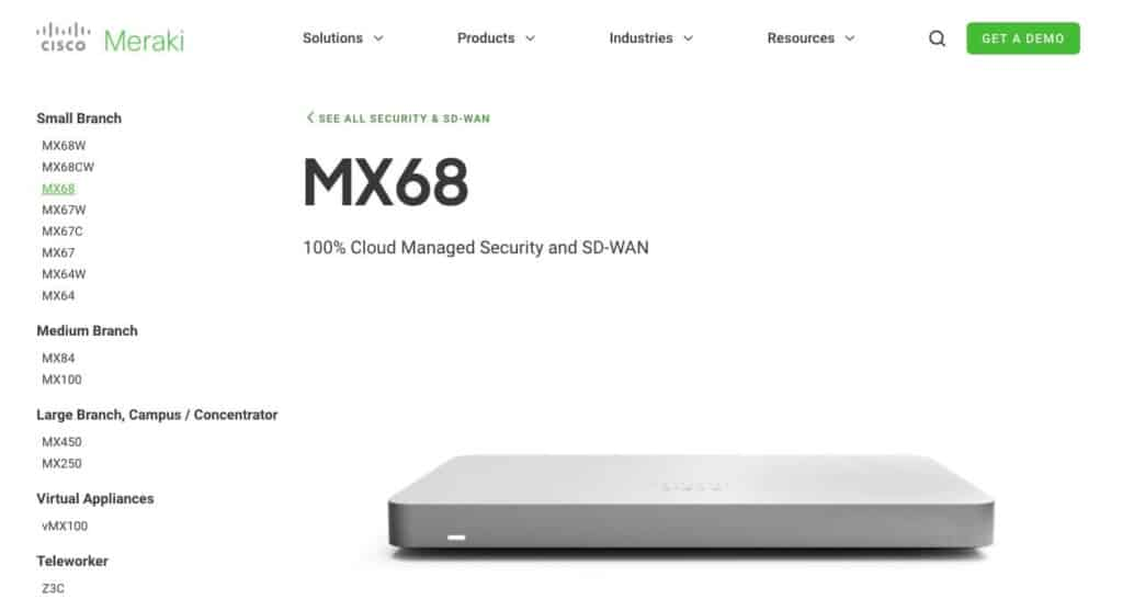 The Cisco Meraki MX68.