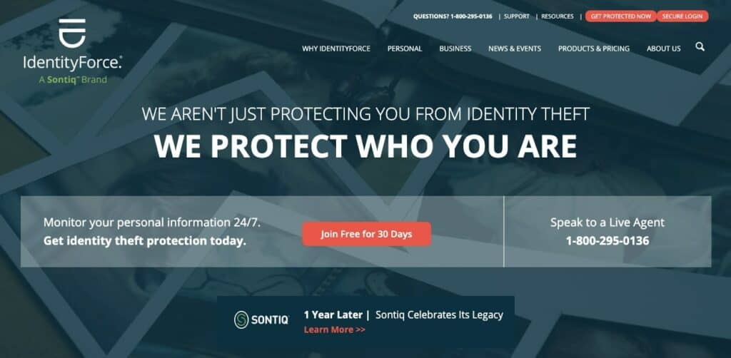 The IdentityForce homepage.