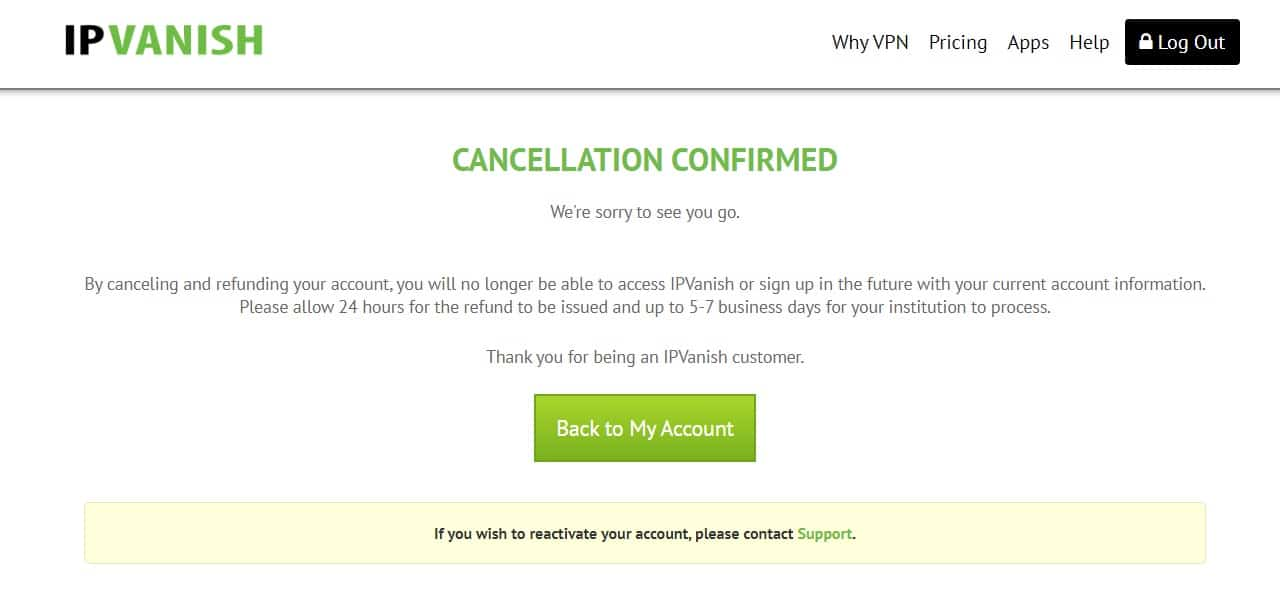 IPVanish free trial cancelled
