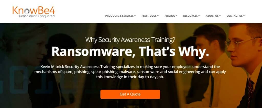 KnowBe4 training page.