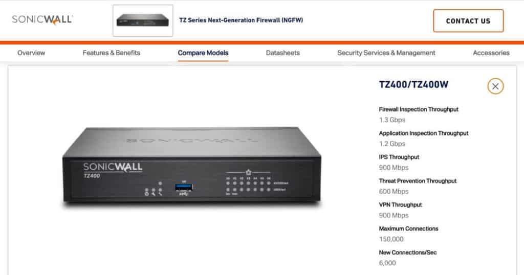 The SonicWall TZ400.