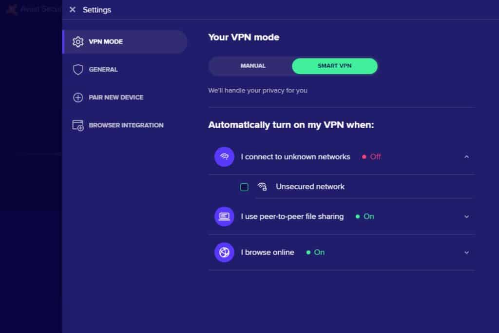 Avast App - Smart VPN