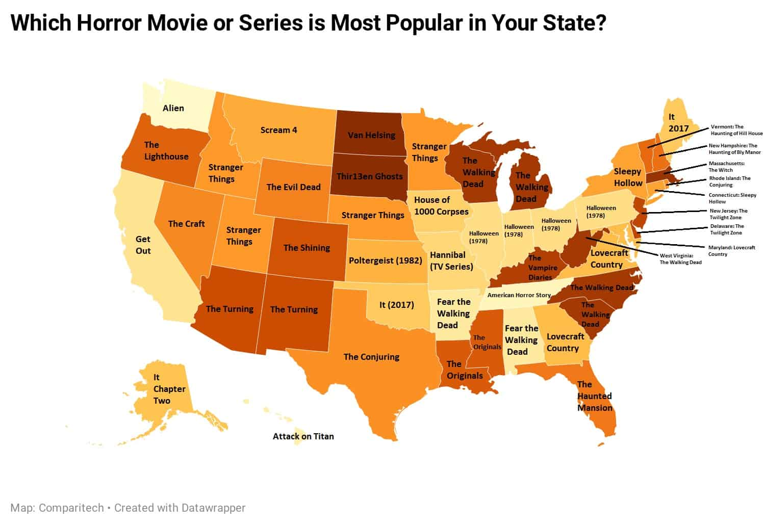 Most popular horror films in each state