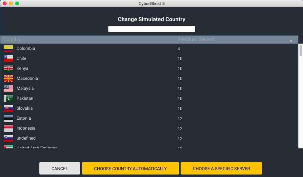 CyberGhost desktop app server list