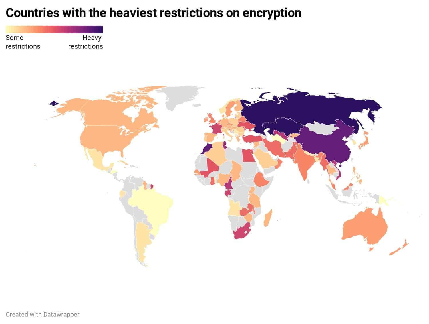 Countries with the heaviest restrictions on encryption