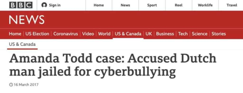 Cyberbullying headline.