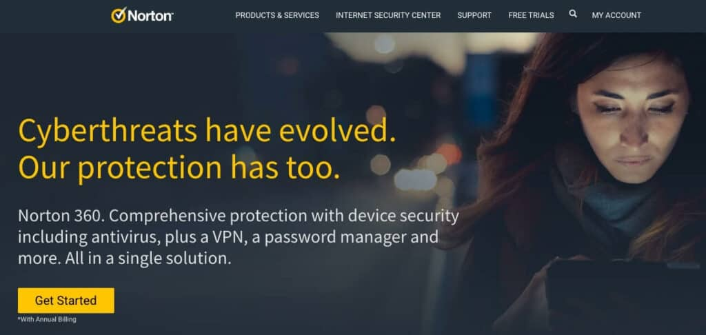 Norton Internet Security homepage.