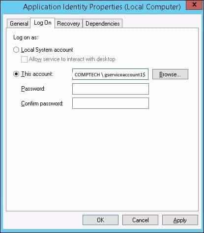 Application Identity Properties dialogue box