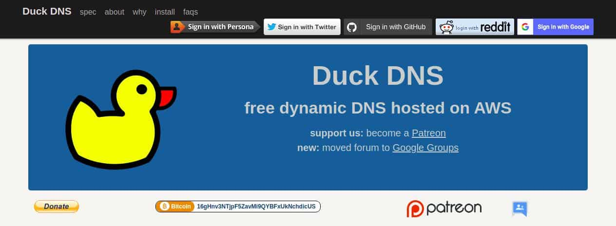Duck DNS Homepage