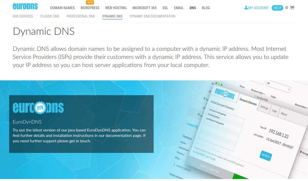 EuroDynDNS Webpage