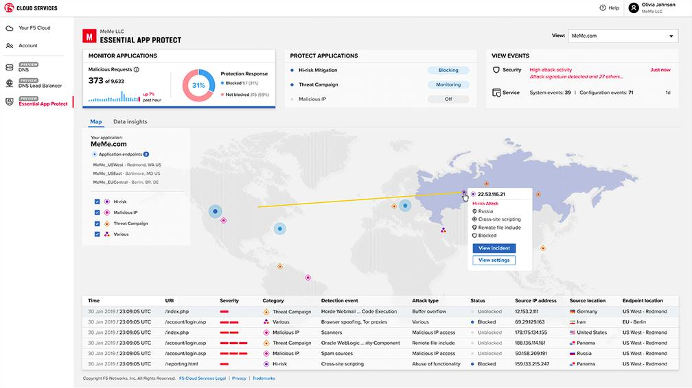 F5 Essential App Protect Dashboard - Application event map