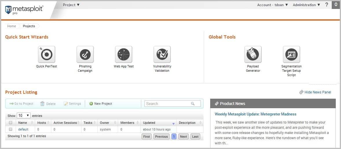 Metasploit dashboard web