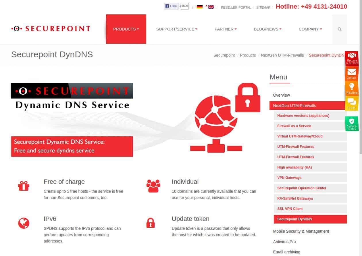 Securepoint DynDNS webpage